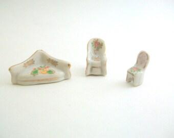 Miniature Furniture, Dollhouse Furniture, Porcelain Furniture, Furniture Figurines, Furniture Set, Couch, Chairs, Tiny Furniture, Set of 3