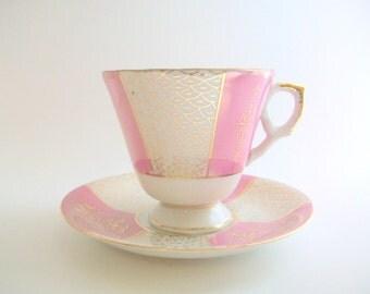Teacup & Saucer, Teacup Set, Vintage Teacup, White and Pink Teacup, Floral Teacup, Striped Teacup, Pink Striped Teacup, Vintage Teacup Set