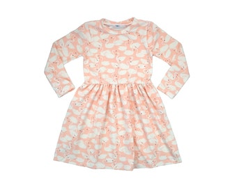 ORGANIC Daily Dress, Girls Dress, Baby Dress, Toddler Dress, Long Sleeved Dress, Short Sleeve Dress, Swan Dress, Day Dress, Sweetling Swan