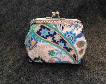 Blue pattern  frame Coin purse/ Key Chain / Small bag