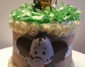 Jungle Animals Safari Baby Shower Diaper Cake Centerpiece Birthday Cake Topper Decoration