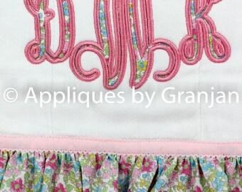 Monogram Burp Cloth with Ruffles and Eyelet