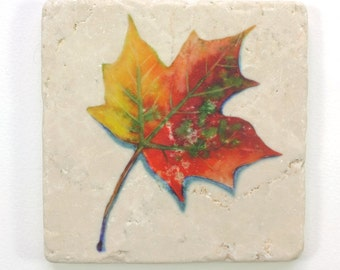 Maple Leaf Absorbent Tumbled Stone Coaster Original Watercolor Fall Leaves