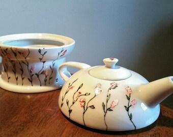 teapot porcelain white with paint flowers, hand paint