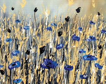 CORNFLOWER BLUES, Abstract, Floral, Landscape, Original, Handmade Painting, Living Room, Art Decor
