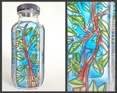 Eco Friendly Stained Glass Water Bottle, olive tree branch, smoothie flower vase forest leaves green sky blue nature girl yoga hippie boho