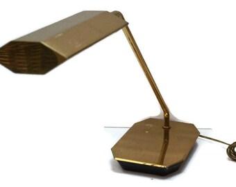 Vintage Koch + Lowy Mid Century Modern Cantilevered Brass Desk Lamp