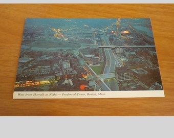 Vintage ORIGINAL West From Skywalk At Night Prudential Tower Boston Mass Postcard Free Shipping