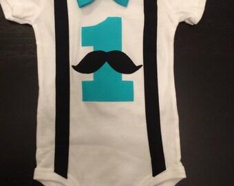 Moustache Bowtie First Birthday Onesie with Suspenders