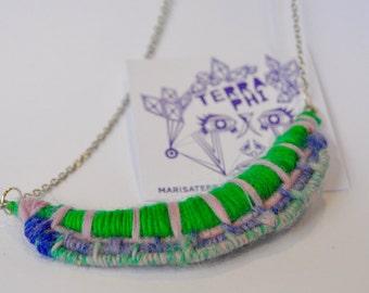 Hand Woven Colourful Wool and Chain Necklace
