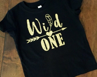 Wild one, first birthday, shirt for first birthday, feathers, arrows