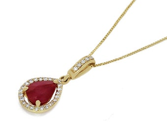 14k solid gold diamond and ruby teardrop necklace. fancy necklace, ruby pendant