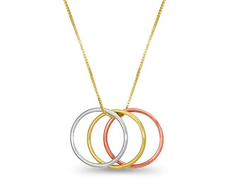 14k Tricolor 3 ring necklace. dainty necklace with trio rings.