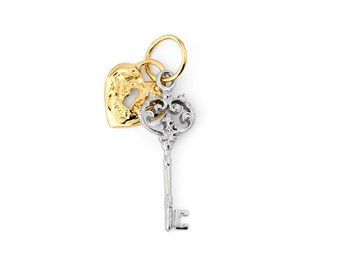 "14K Solid Two-Tone White/Yellow Gold ""KEY to my HEART"" Pendant/Charm"