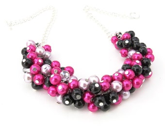 Bridesmaid Cluster Necklace, Hot Pink and Black Chunky Necklace, Pearl Bead Necklace