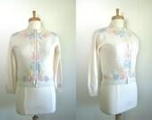 1950s Beaded Sweater Cardigan / 50s Pastel Lambswool Sweater