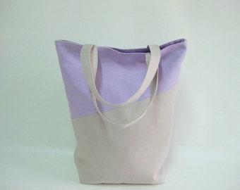 Lilac Linen Bag, Market Tote, Eco Friendly, Reusable Shopping Bag, Gym Bag, School Lunch Bag