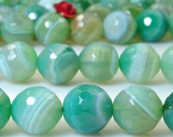 38 pcs of Green Banded Agate faceted round beads in 10mm