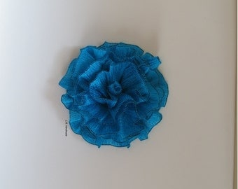 Flower Brooch, Crochet flower pin,  Scarf pin, Lapel pin, Hat brooch, Fashion, Brooches, cyan, blue