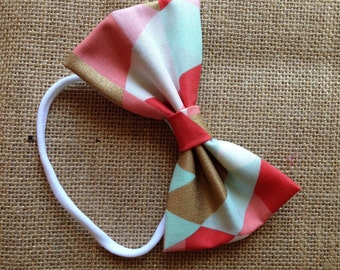 Baby bow - Mint, coral and gold geometric