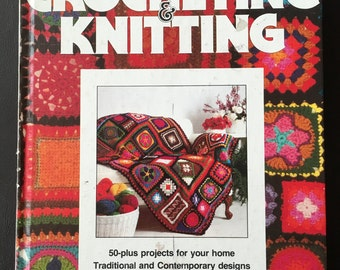 Better Homes and Gardens Crocheting and Knitting  Harddcover Book, 1977