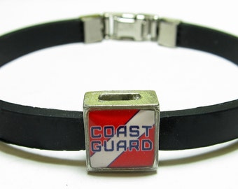 Coast Guard Link With Choice Of Colored Band Charm Bracelet