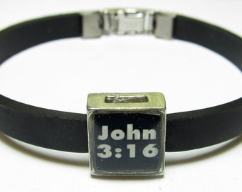John 3:16 Link With Choice Of Colored Band Charm Bracelet