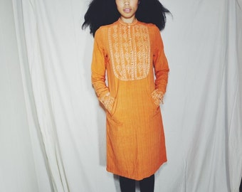 VINTAGE ORANGE DASHIKI - Hand Embroidered, Pockets Included, Comfortable , Linen Cotton Material