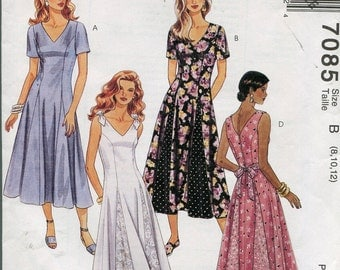 1980s Dress Pattern McCalls 7085 Sundress Summer Sleeveless Womens Vintage Sewing Patterns Size 8-12, uncut