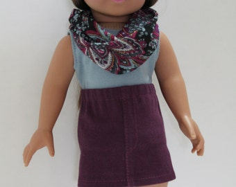 Tank top, jean mini skirt, infinity scarf