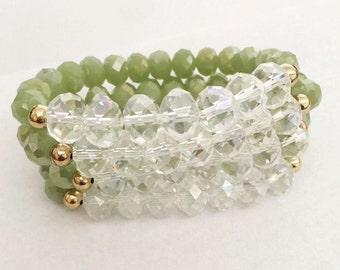 Glass Bead Set, green stack, womens bracelet, gifts