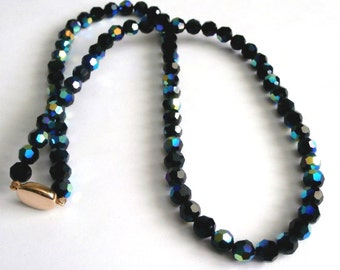 "Signed Swarovski Jet Black AB Crystal Beads Necklace 24"" (D)"