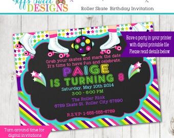 Roller Skate Party - Roller Skate Invitation - Roller Skate Invite - Custom - Printable
