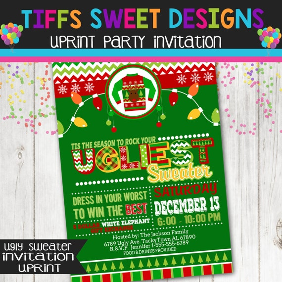 Ugly Sweater Christmas Party Invitation Holiday Ugly Sweater – White Elephant Christmas Party Invitations