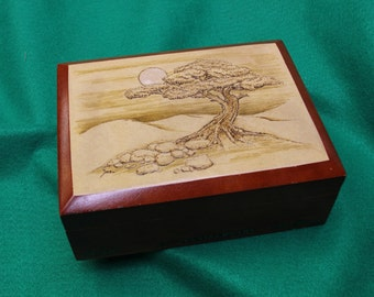 "Wooden Keepsake Box, Re-Purposed Cigar Box, Pyrography - ""Moon Tree"". OOAK (Box No. 89)"