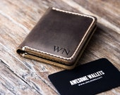 Wallet PERSONALIZED Leather Card Wallet Bridesmaids' Gift Mens Wallets, Minimalist Wallet, Front Pocket Wallet  - #010