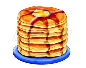 50% OFF SALE Pancake Clipart, Pancake Clip art, Breakfast clipart, Digital, Illustration, Scrapbooking, Graphics, Food, Meals, 300 DPI, Inst