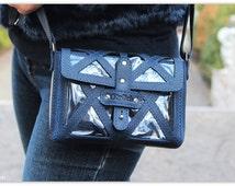 Clear stadium bag / Denim Cross Body Small Purse Leather / Blue Leather Crossbody Bag/ Clear  bag / Gift for her