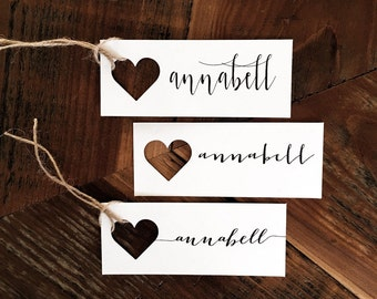 Name Tags, Wedding Place cards, Heart Place Cards, Heart Escort Tags, Heart name tag, Gift Tag Heart