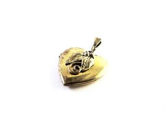 Antique Art Deco Gold Filled Heart Locket w/Gold Filled Chain - Floral Locket - Art Deco Locket