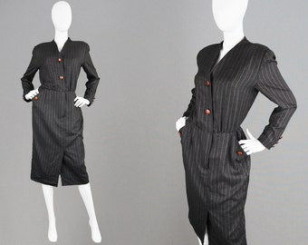 Vintage 80s AKRIS Dress Wool Pinstripe Dress Made in Switzerland Secretary Dress Dark Grey Office Dress Striped Dress Pencil Dress Designer