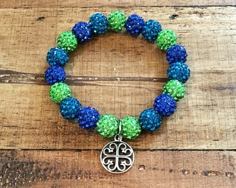 Royal Blue, Deep Turquoise and Lime - Elastic Shamballa Bracelet with charm