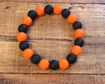 Rustic Black and Orange 10mm Silicone Bracelet