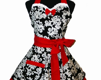 Retro Sweetheart Apron in Damask Print with Rich Red Trim