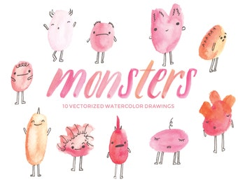 Pink, Orange and Red Friendly Monsters - Hand-painted watercolor digital clip art PNG & vector