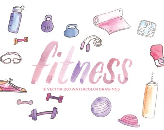 Fitness, gym, and workout equipment: Hand-painted watercolor digital clip art PNG & vector