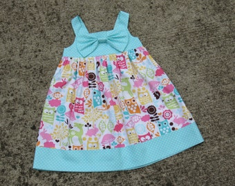 SIZE 3 RTS Girl's Forest Dress. Animal Summer Dress for Kid. Girl's Bow Dress