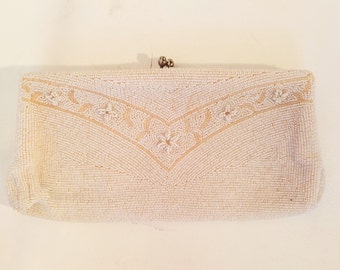 50's Vintage Mid-Century Glamour Girl Richere Beaded Clutch -snap top evening bag purse - Handmade Japan - Ivory Off-White tiny Seed Beads