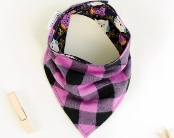 Purple plaid bib, Purple drool bib, Owls baby bib, Owl print bibs for baby, Owl baby gift, Reversible baby bib, Adjustable flannel scarf bib