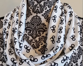 Black and White Bicycles Infinity Scarf - Handmade - Gift for her - Under 20 - Free Shipping - teacher
